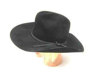 Black Sheplers by Stetson Hat Fur Felt Western Hat Vintage Cowboy Hat Mens  Womens Western Cowgirl Hat Long Oval Size 7 defb7a2ede2