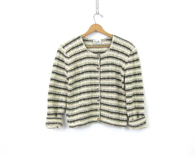 Cropped Cardigan sweater Green & Whit Button Up 90s Revival Cardigan Preppy 1990s Cotton sweater Women's Medium