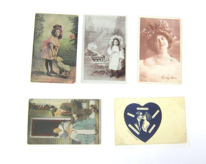Lot of 5 vintage Antique postcards 1900s Collection Love Romantic Paper Ephemera Wedding Decor Invitations