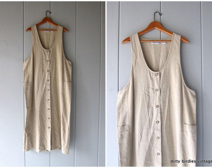 90s Minimal LINEN Dress Beige Minimal Dress Vintage Loose Fit Frock Natural Look Long Sun Dress Linen Maxi Dress Pockets Womens 14-16