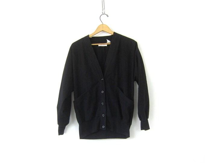 Black Cardigan Shirt Blazer Slouchy Button Up Cardigan Overshirt Basic Black 1980s Shirt Jacket Vintage Womens size Medium Petite