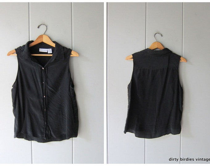 Black Silk Tank Top - Large