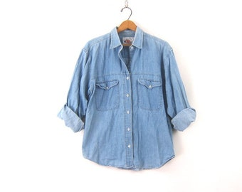 7adf910b306 Light Blue Jean Shirt Worn In Denim Boyfriend Shirt Button Up Jean Shirt  Denim Collar Top Women s Size Medium
