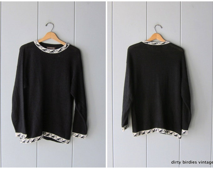 Black Alpaca Pullover Sweater Long Soft Knit Peruvian Sweater Ethnic Thin Knit Sweater Large