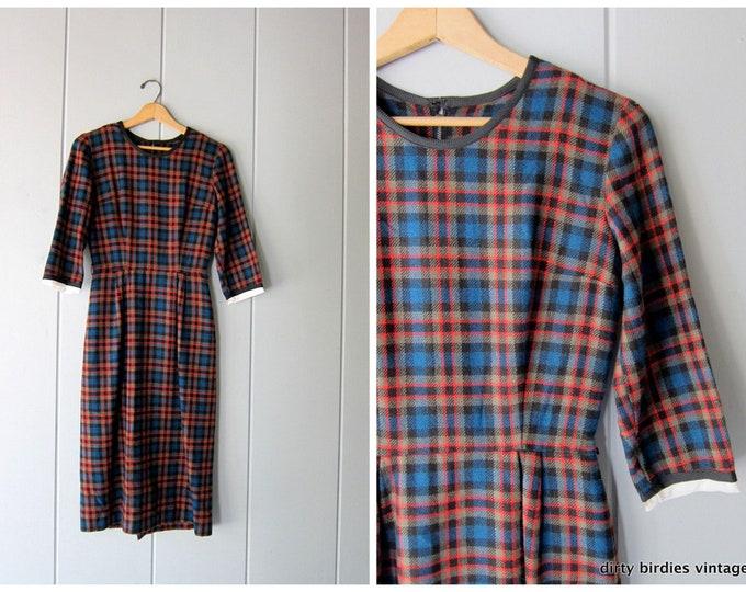 50s Wool Sheath Dress - XS