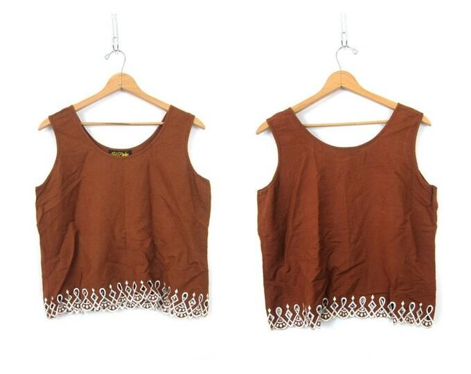 90s Bali Tank Top Brown Linen Rayon Shirt Sleeveless BOHO Hippie Top Vintage Bob Mackie Cut Out Summer Blouse Womens size XL