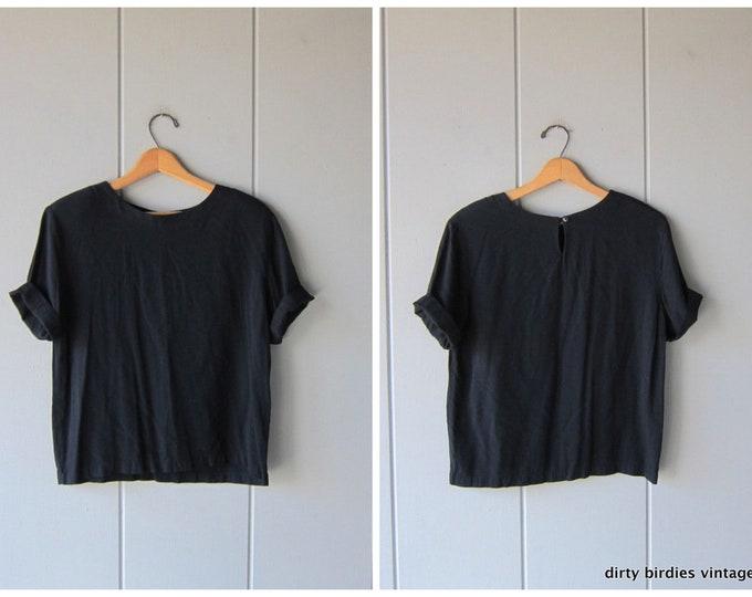 Minimal Black Top Cropped 90s Short Sleeve Rayon Tee Basic Crop Top Vintage Black TShirt Modern Blouse Womens Large