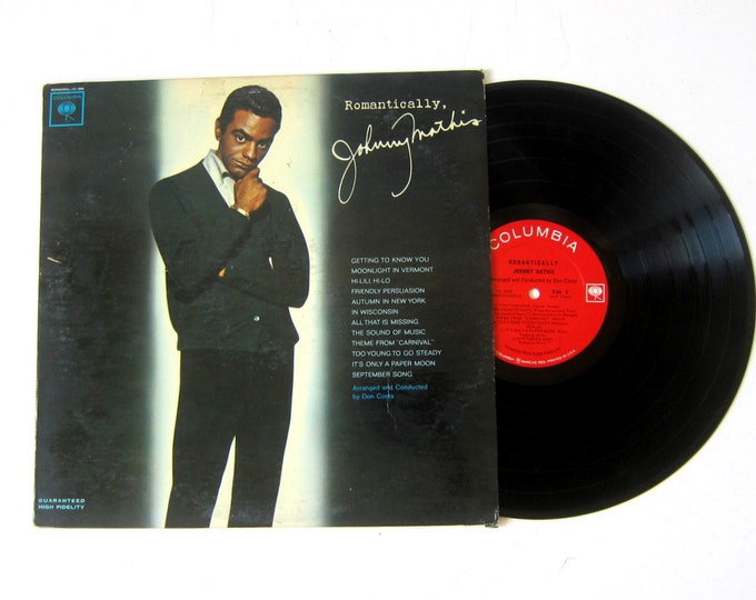 Romantically Johnny Mathis Vinyl Record Album 12 Inch LP Vintage Music Columbia Record Album