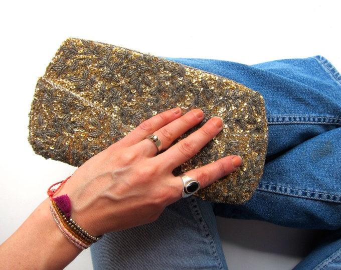 50s Beaded & Sequins Evening Purse Vintage Silk Gold White Retro Hollywood Glamour Hand Bag Clutch Womens Handbag Make Up Bag
