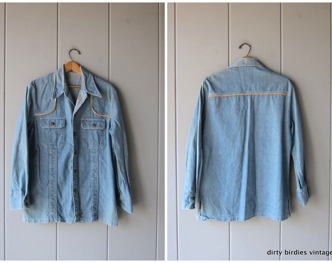 Western Jean Shirt Jacket 70s Snap Up Denim Shirt Vintage Cowboy Jean Shirt Mens Medium Large