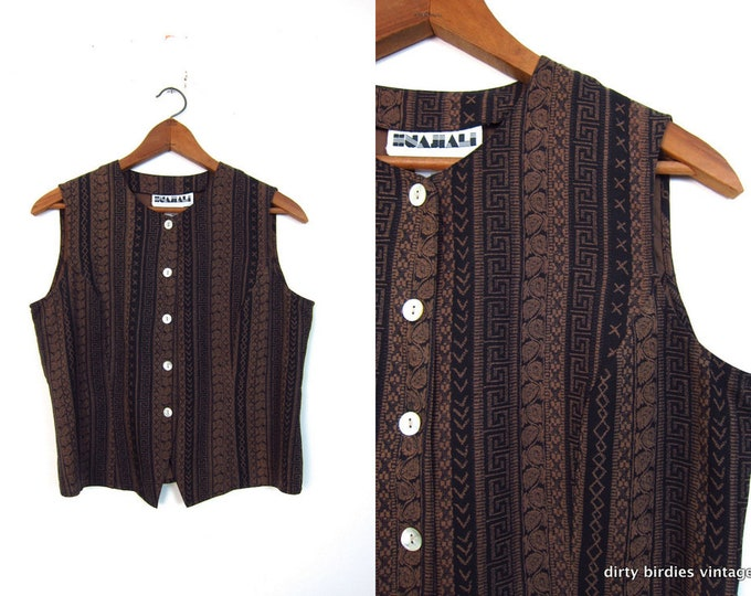 90s Silk Tank Brown Black Crop Top Vintage Sleeveless Silk Button Up Vest Cropped Tribal Shirt Modern Womens Medium Large