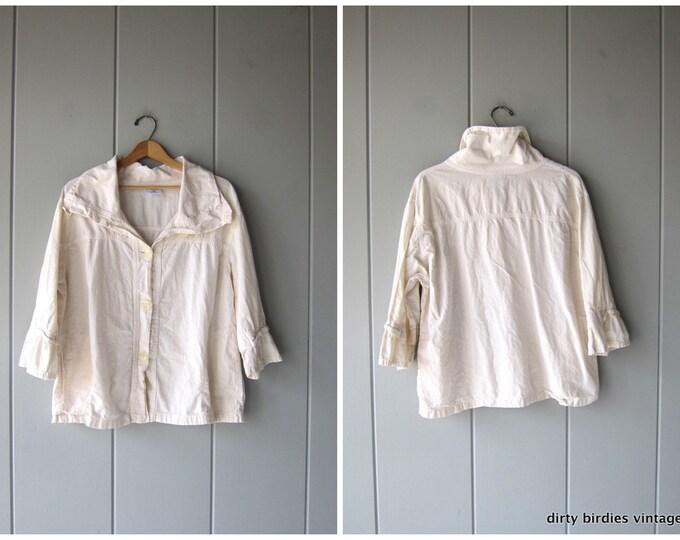 Oversized Cotton Jacket Slouchy White Button Up Jacket 90s Vintage Minimal Light Weight Cotton Coat Simple Basic Womens size XL