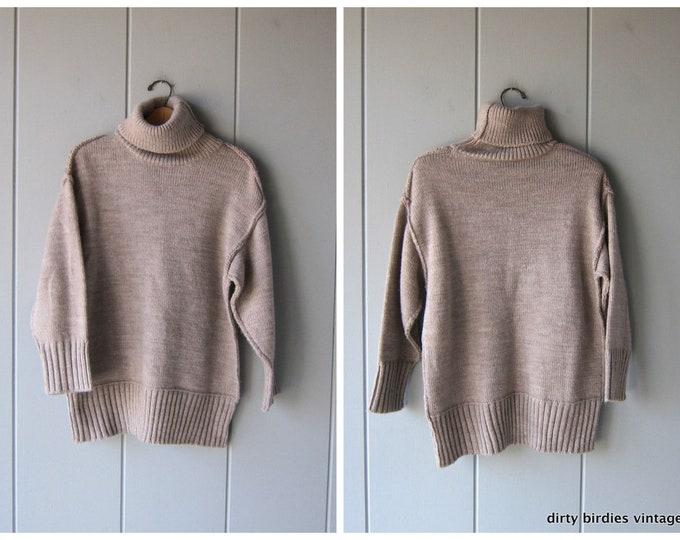 Oversized Thick Knit Turtleneck Sweater Soft Wool Blend Jumper Long Knit Tunic Sweater Oatmeal Boho Sweater Vintage Womens Large