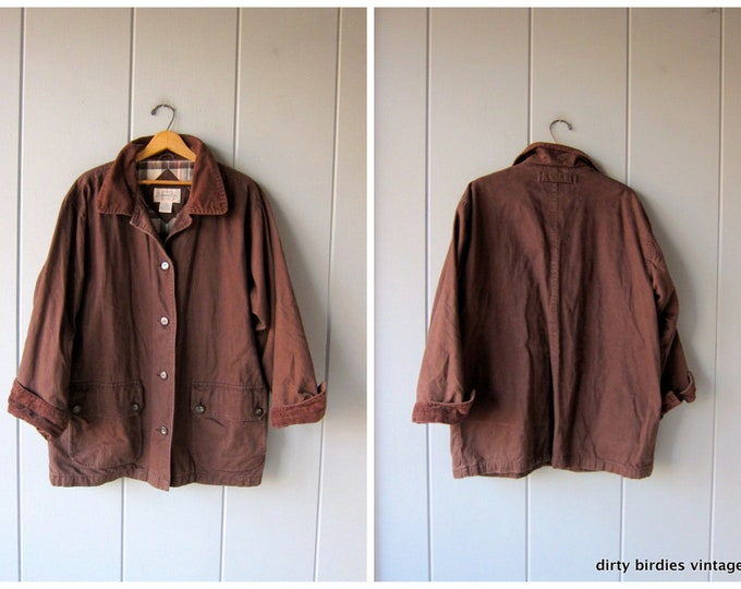 Vintage Brown Barn Coat 90s Chore Jacket Ranch Coat Oversized Fall Winter Flannel Lined Field Coat Womens XL