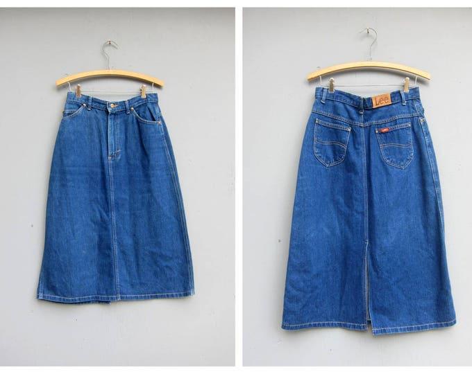 1980's LEE Jean Skirt Blue Denim Below the Knee Midi High Slit skirt 80s Retro Vintage Women's Size 28 Inch Waist Size Medium