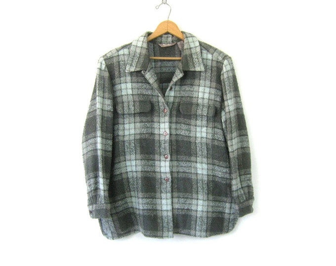 Blue & Gray 90s Shirt Jacket Plaid Flannel Blanket Coat Button Up Spring Jacket Pocket Oxford Women's Size XL 16