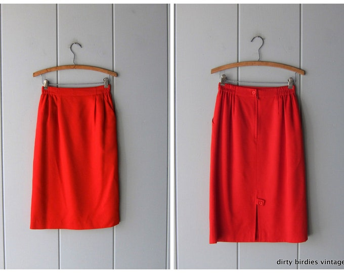 80s Red Pencil Skirt Modern Holiday Skirt Vintage Knee Length Rayon Skirt High Waist Minimal Skirt Womens 6