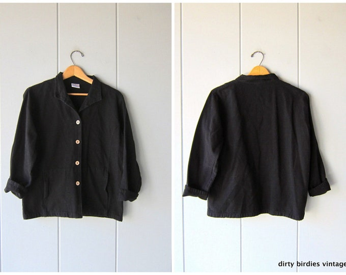 Black Cotton Jacket Button Up Jacket 90s Sea Breeze Vintage Minimal Light Weight Cotton Coat Simple Basic Womens Small