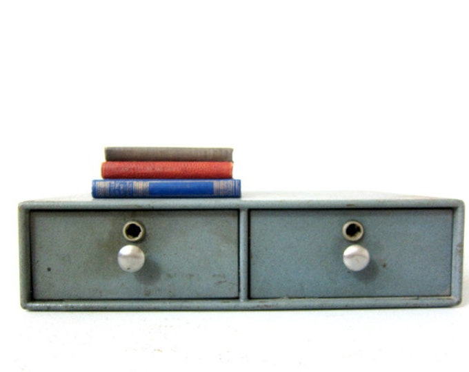 Industrial Metal Drawers Heavy Gray Double Drawers Office Home Decor