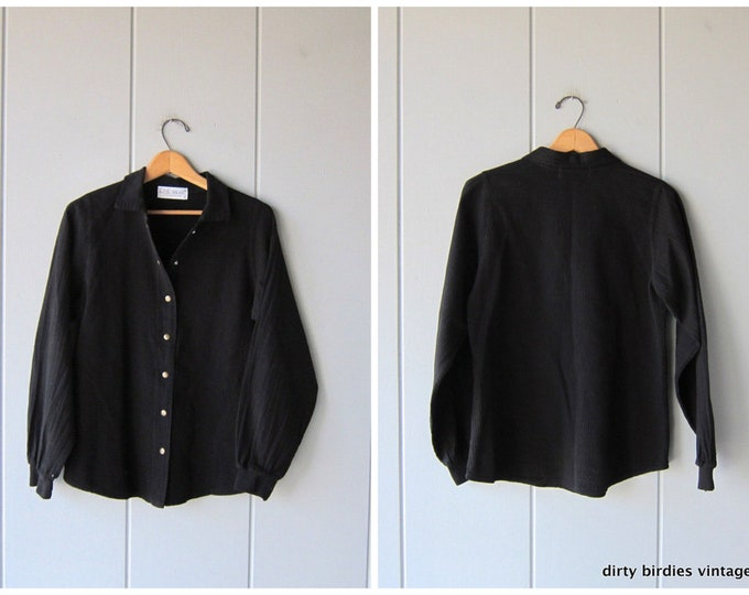 Basic Black Textured Shirt Athletic Snap Up Cotton Ribbed Shirt Jacket 90s EZZE WEAR Minimal Sporty Top with Pockets Womens Small