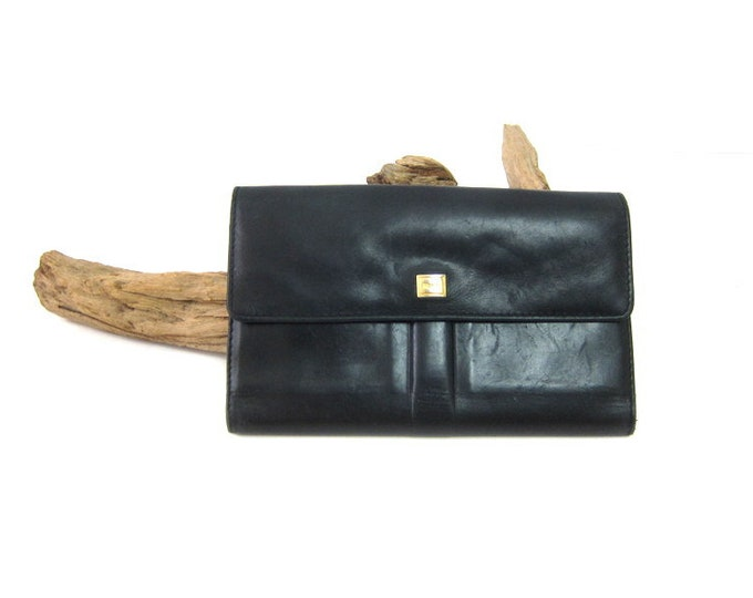 Black Leather Wallet 1990s ROLFS Billfold Soft Leather Checkbook Coin Purse women's Leather Wallet