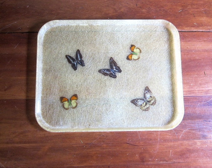 Vintage Butterfly Tray Vanity Dresser Organizer Fiberglass Serving Tray Kitchen Home Decor Bohemian Chic Earthy Drink Serving Platter