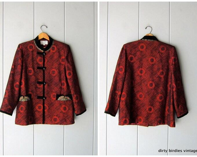 Embroidered Chinese Smoking Jacket Vintage Red Black Velvet Kimono Coat / Womens Large