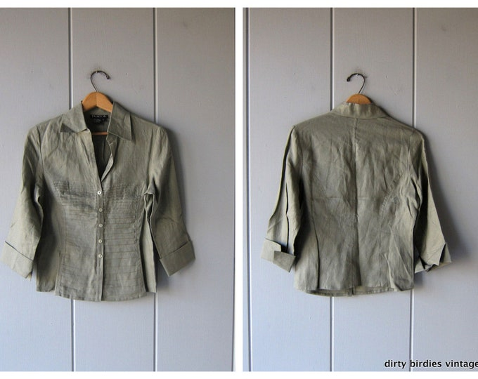 Button Up Linen Blouse Minimal Natural Sage Green Linen Top Pleated Cropped Blouse Quarter length Sleeves 90s Modern Blouse Women's Small