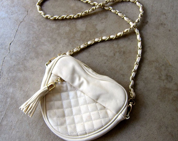 White Quilted Heart Purse