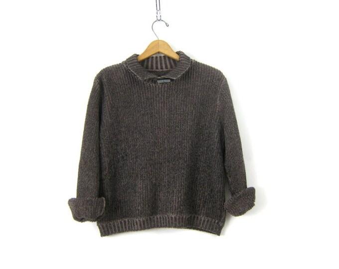 Cropped Sweater Rib Knit Cotton Pullover Top High Collar Sweater Minimal Boxy Crop Grey Purple Sweater Women's Small