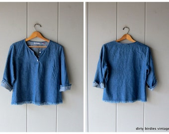 50f74c83e2b 90s Cropped Denim Shirt Fringed Jean Top Boxy Denim Pullover Henley Tee  Preppy Basic Jean Shirt Womens Medium