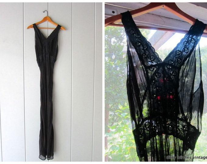 Vintage Black Slip Dress 40s Long Minimal Victorian Dress Sheer Black Sun Dress Delicate 50s Long Slip Dress Sleeveless Womens Small Medium