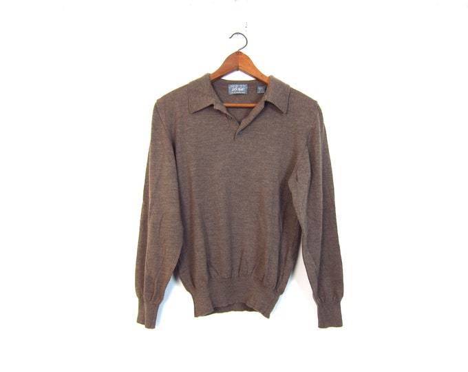 90s Wool Knit Top Long Sleeve Collared Henley Shirt Vintage Italian Thin Wool Pullover Preppy Modern Cinched Waist Top Medium