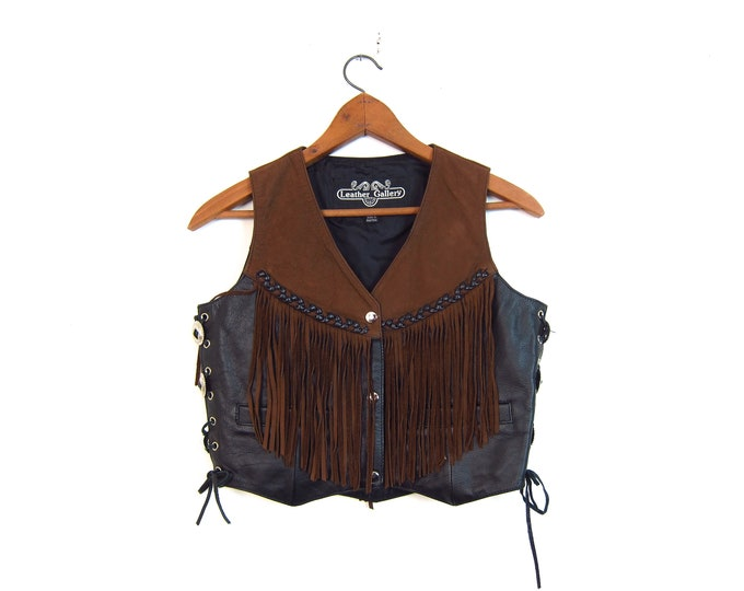 Fringed Leather Vest Vintage 80s Suede Rocker Western Vest Sleeveless Jacket Brown Leather Snap Up Biker Vest Hipster Womens Small