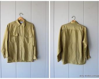 9b5be85dd0b767 90s silk shirt olive moss green oversized silk blouse preppy modern silk  pocket shirt long sleeve silk top womens