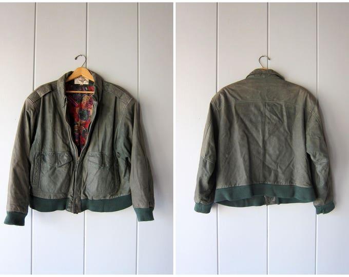 Vintage 80s Green Suede Bomber - Mens Medium