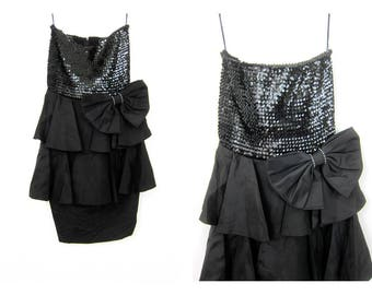 Vintage 80s BLACK Sequin Dress Strapless Big BOW Mini Dress 1980s Tube Top  Minidress Sexy Cocktail Party Dress Womens Small Medium 8c73283d7f45