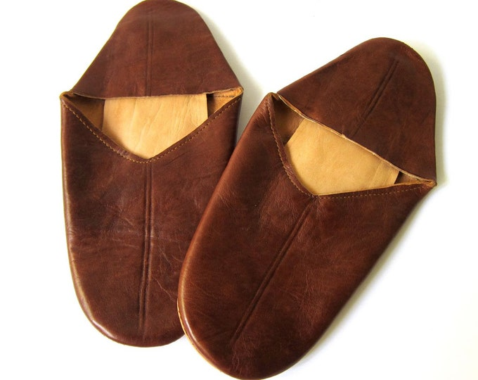 Vintage Soft Leather Slippers Mens Womens Leather Sole Sandals Bedroom Slippers Travel House Slippers