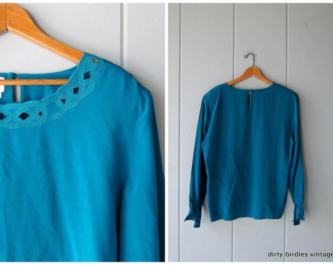 90s Silk Blouse Turquoise Green Silk Top Long Sleeve Silk Cut Work Blouse Preppy Cut Out Boho Silk Top Womens Medium Large