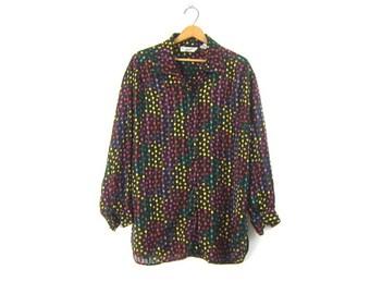 a11f7e93c37b4 80s Polka Dot Shirt Black Sheer Button Up Blouse Long Oversized Retro Shirt  White Rainbow Dotted Top Womens Size 16