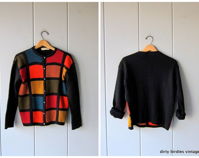 50s Colorful Wool Sweater Vintage Button Up Wool Cardigan Sweater Preppy Varsity Sweater 1950s Womens Large
