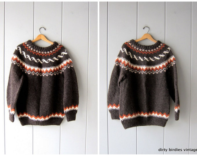 Handwoven Wool Sweater Vintage 70s Brown Heavy Wool Fair Isle Sweater Oversized Hand Knit Ethnic Pullover XL 2XL