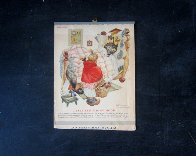 Fairy Tale Calendar 1940s Vintage Wall Hanging Pictures Children's Room Decor Kid's Nursery Framing Pictures Paper Ephemera