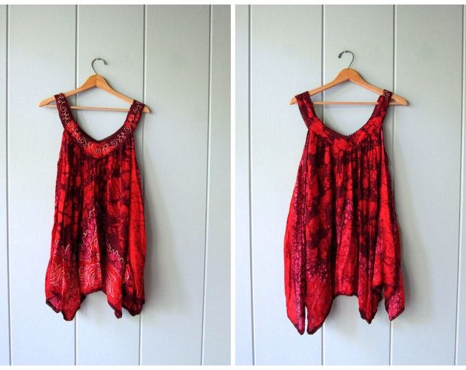 Embroidered Mini Dress Indian Festival Sundress Vintage 90s Tunic Top Gypsy Hippie Tank Dress Womens