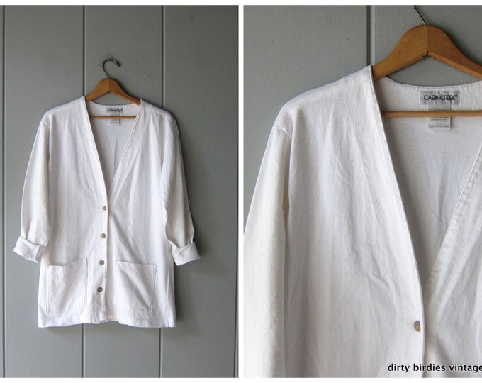 White Button Up Sweatshirt
