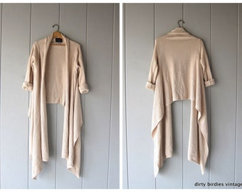 0e09049d03 Asymmetrical Cardigan Sweater Top Oversized Beige Natural Knit Modern Open  Sweater Minimal High Low Sweater Womens S M