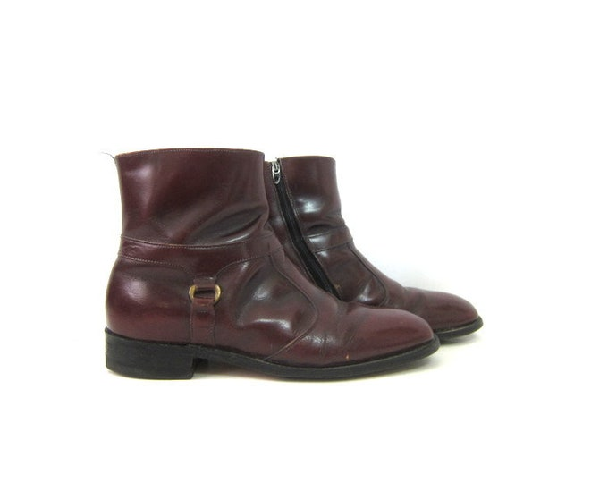 Vintage men's Dark Red Boots leather Beatle Boots ankle boots Rockabilly Hipster Side Zipper Boots Men's Size 9 D