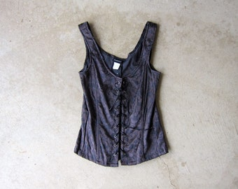 24dedd66a2 Fredrick s Of Hollywood Floral Black Bustier 90s Sexy Tank Top Lace Up  Corset Pin Up Girl Burlesque Lingerie Womens Small