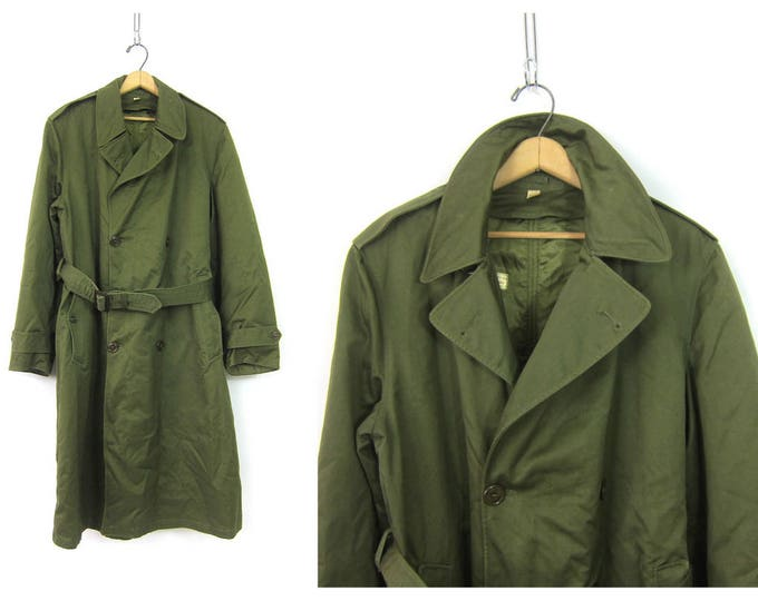 Long Green Army Trench Coat Military Issue Overcoat Commando Double Breasted Grunge Vintage Mens Belted Trench Jacket Parka size Medium