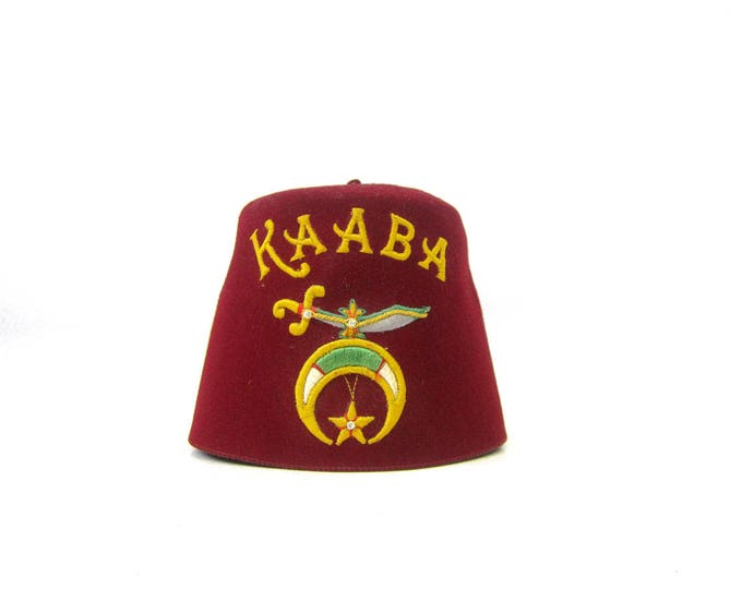vintage Red Felt Shriner hat Kaaba Fez cap Embroidered Sword  Masonic Men's Fraternal Club Hat Leather Band Lou Walt Company